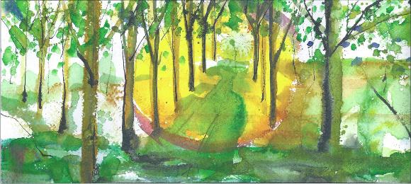 Claudio Jaccarino, Luce tra gli alberi nelle golene, acquerello