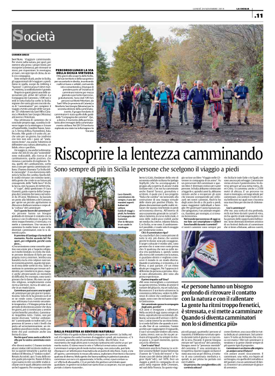 Riscoprire la lentezza camminando, La Sicilia, Lunedì 24 novembre 2014, Carmen Greco
