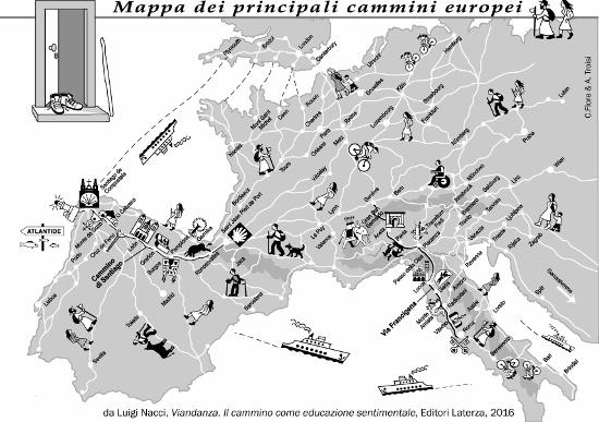 La mappa dei principali cammini dell'Europa occidentale, dal libro di Luigi Nacci