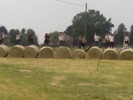 Ragazzi di una scuola media si divertono a saltare tra le rotoballe