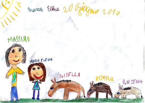 Disegno Maria Elena, 20 giugno 2016. Massimo, Maria Elena, Gisella, Romina, Giustina