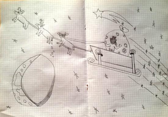 Storia di Natale Renna a orecchie lunghe. Disegno di Florian