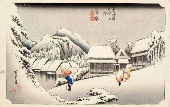 Utagawa Hiroshige, Neve notturna a Kambara, 1833