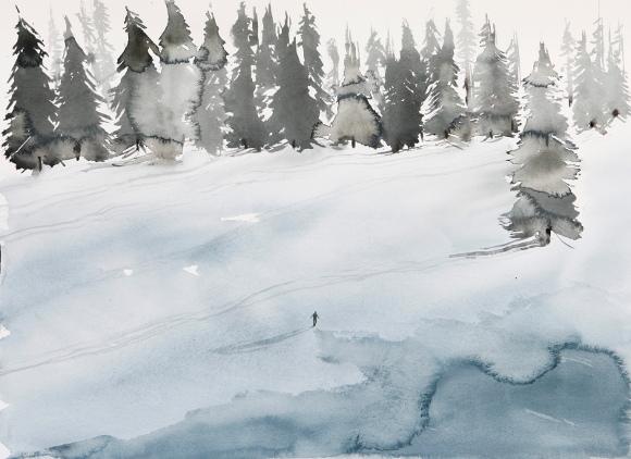 Nicola Magrin, acquerello della serie Day Lake, 2013