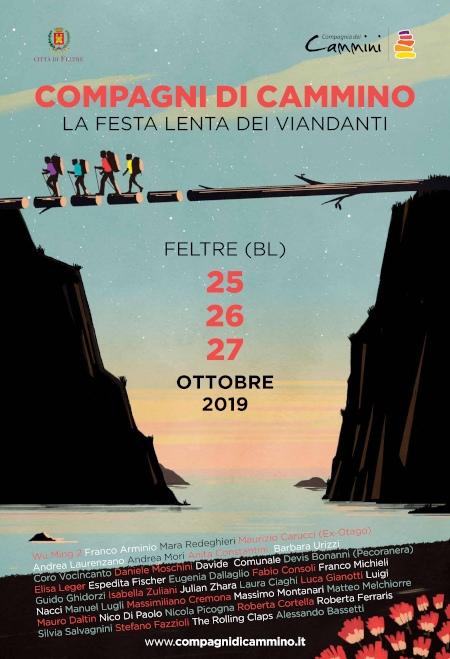 Locandina Festa lenta dei viandanti. Compagni di Cammino. Feltre 25-26-27 ottobre 2019