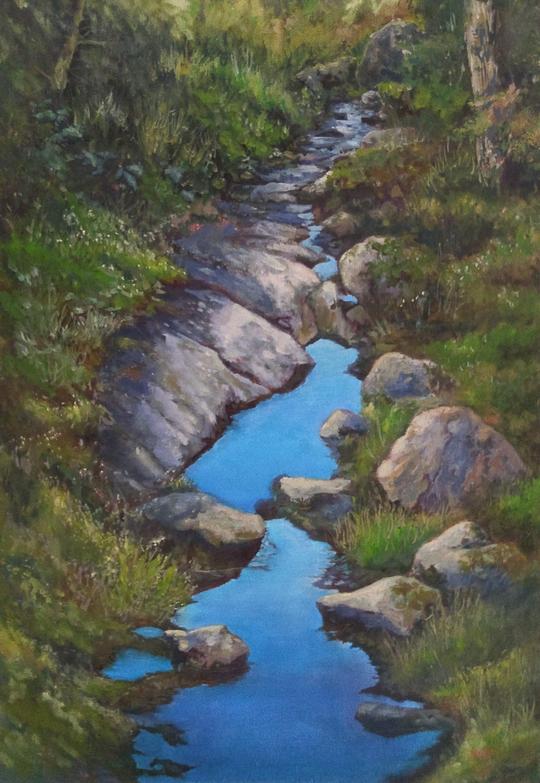 Il cielo lungo il sentiero, Olio su tela di Rebecca M. Fullerton