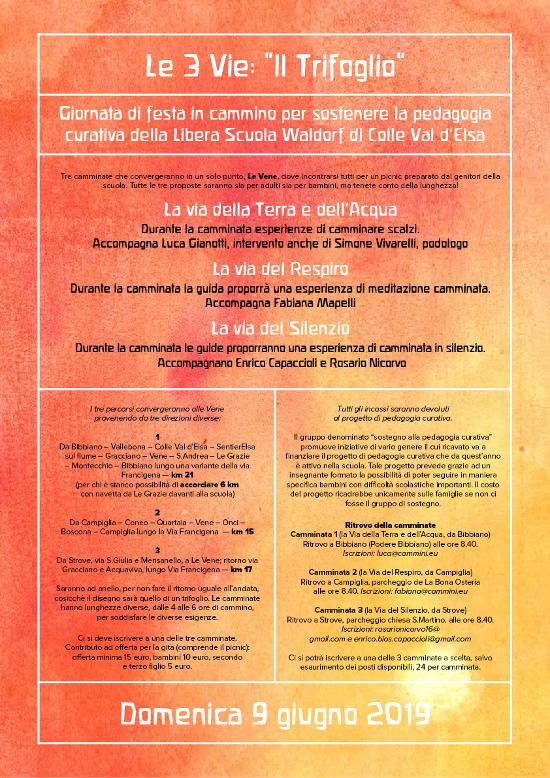 LE 3 VIE: IL TRIFOGLIO. Domenica 9 giugno 2019. Giornata di festa in cammino per sostenere la pedagogia curativa della Libera Scuola Waldorf di Colle Valle d'Elsa.