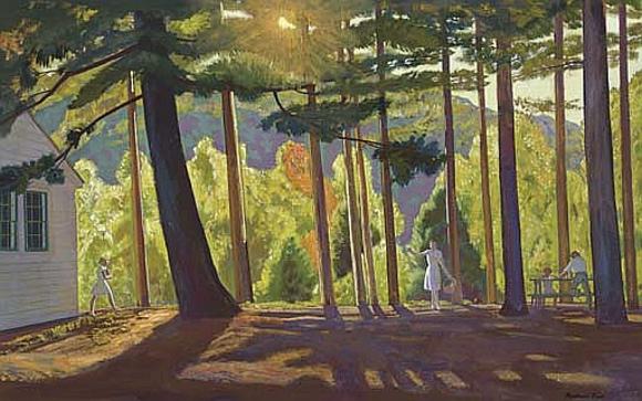Rockwell Kent, Picnic in the pines Asgaard, 1956 circa, olio su tela
