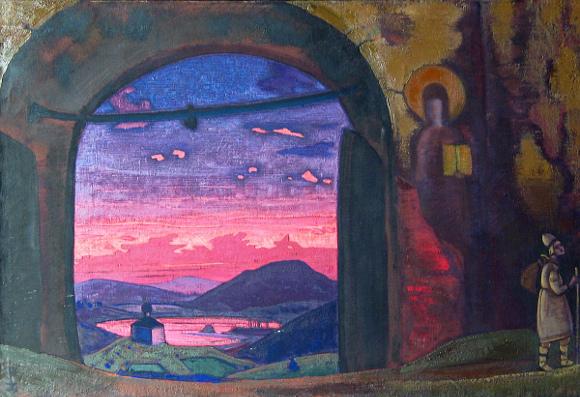"Nicholas Roerich, ""Monastero di San Sergio"", 1922. Olio su tela. Museo di Belgrado, Serbia"